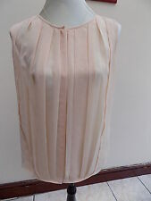 GORGEOUS L K BENNETT PALE PEACH PLEATED SEETHROUGH BAGGY BLOUSE SIZE 6-8/10