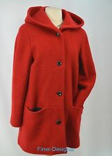 LIZ CLAIBORNE Red Boiled Wool Coat Hood Car Jacket Bouncle Nubby SZ 10 P NEW VTG