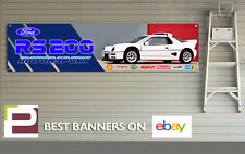 Ford RS 200 Group B Rally Car Logo Banner for Workshop / Garage, XL Banner
