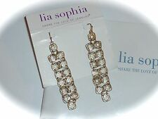 "NWT LIA SOPHIA ""TAGINE"" EARRINGS - LONG LACY GOLDTONE DANGLES - 2011/$38"