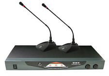 New Pyle PDWM2150 Professional Dual Table Top VHF Wireless Microphone System