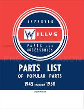 Jeep CJ 3B CJ5 CJ6 Popular Parts Book 1958 1957 1956 1955 1954 CJ 3B 5 6 Catalog