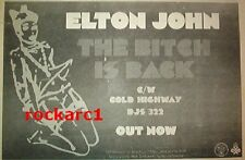 ELTON JOHN Bitch is Back (black) 1974  UK Press ADVERT 12x8 inches
