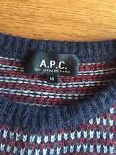 APC A.P.C. Mens Red Gray Navy Blue Camel Hair Crewneck Sweater M Medium $295