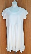 NWT Fresh Produce White Sunshine S/S Ruffle Hem Cotton Summer Dress Sz 1X