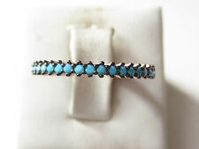 Rose Gold Plated Over 925 Sterling Silver Turkish Turquoise 1 Row Ring Sz 6