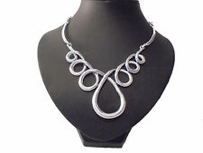 Stunning Chunky Unusual Big Swirl Silver STaTeMenT Designer Style Necklace