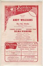 "Andy Williams & Selma Diamond  ""Bye Bye Birdie""  Playbill  1962  Kenley  Players"