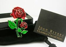 Joan Rivers Enameled Rose Pin (comes w/box, pouch and romance card)