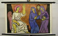Schulwandkarte Wandkarte Bibel Patmos 21 ca 1965 Die Drei Frauen am Grab 77x51