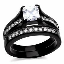 Women's Black Stainless Steel Princess Cut Bridal New Wedding Ring Set Size 5-10