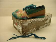 NIB $202 womens 7 37 Papucei Shades Turquoise Floral Shoes Oxfords Lace-Up Flats