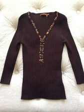 BELLADINI BROWN JEWELED V NECK STRETCH GLAM RIBBED SWEATER SIZE L