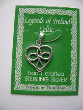 Sterling Silver Celtic Irish Heart Knot Pendant New
