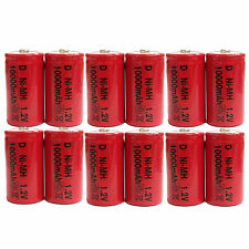 12 pcs D Size 10000mAh 1.2V Ni-MH Rechargeable Battery Cell Toy Red US Stock