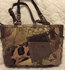 COACH Brown Tonal Animal Patchwork Tote