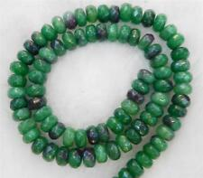 """Green 5x8mm Faceted Emerald Roundel Loose Beads Gemstone Strand 15"""""""