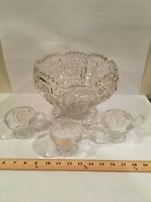 Antique EAPG PUNCH BOWL Imperial Glass ZiPPERED HEART 1909 Sawtooth #292 Cups