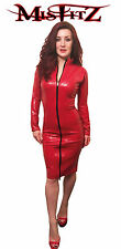 Misfitz red  rubber latex pencil mistress dress,2 way zip,sizes 8-32/custom