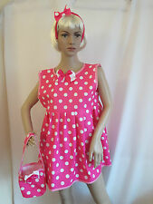 Sissy Adult Baby Heavy PVC Pink and White Spotty Dotty Dress + Bag + Headband