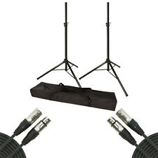 VRT Pro Audio Tripod Speaker Stands with Bag w/ 20' XLR Cable Pair