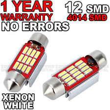 2x 35mm 36mm WHITE INTERIOR CANBUS ERROR FREE 12 SMD LED FESTOON BULBS C10W C5W
