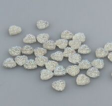 50PCS 10MM Resin heart flatback Scrapbooking for phone/wedding/crafts white AB 6