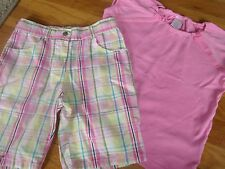GYMBOREE 2 PC TOP SIZ 6 OUTFIT SHIRT SHORTS PINK PLAID SPRING SUMMER FALL SCHOOL
