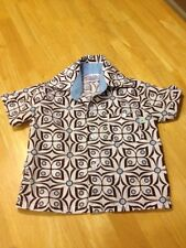 EUC Toddler Button Down Brown Deisgn Shirt 18-24 Mos