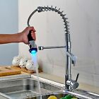 Swivel Spout Kitchen Chrome Finish Sink Mixer Faucet with LED Pull Down Spray