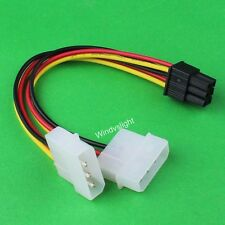 Dual Molex 4Pin to 6Pin PCI Express PCI-E VGA Card Power Cable Adapter Wire