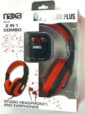 NE-934Red  NAXA DJZ Ultra Plus Headphone/Earbud Combo (Red),large 40mm drivers