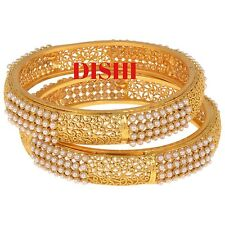 South Indian DISHI Pearl Bangle Bollywood Ethnic Traditional Gold plated Bangles