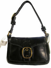 NWT Coach 11427 Bleecker Leather Small Black Flap Hobo Handbag msrp $258