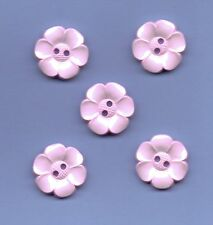 5 X LARGE PALE PINK FLOWER SHAPE BUTTONS- SIZE 36 / 22mm - FASHION,CRAFT,CARDS,