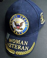 US NAVY USN WOMAN VETERAN EMBROIDERED BASEBALL CAP HAT