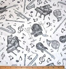Music Notes Instruments Fabric By Yard Play Your Song Piano Drums Sax Horns