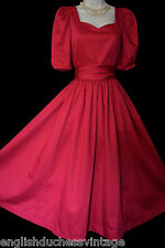 VINTAGE LAURA ASHLEY BEAUTIFUL FEATURE BACK DEEP ROSE SASH OCCASION DRESS, UK 6