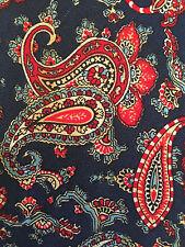 """Vintage Kipper 100% silk necktie Red/Blue Paisley 58x4.5"""""""
