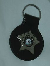 Chicago Police Detective Badge Key Chain w/ Leather Strap