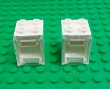 *NEW* Lego White 2x3x2 Cupboard Clear Window Hinge Container Bricks 2 pieces
