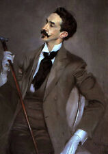 Oil painting male portrait Count Robert de Montesquiou seated with stick canvas