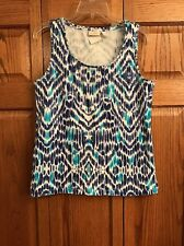 Chicos Top Shell Tank White Blue Aqua Scoop Neck Womans Size 2