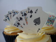 Casino Gambling Party Poker Playing Card Edible Cupcake Cake Toppers Deck Bridge