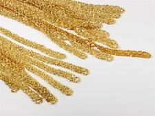"""Lot (10) 33"""" vtg Czech gold lined glass seed bead clothing fabric edge trims"""