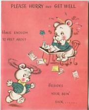 VINTAGE WHITE BEAR PAYING BILLS TAXES POCKET WATCH HORN GET WELL GREETING CARD