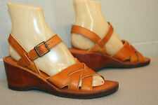 8.5 TRUE VTG 70s NOS BROWN WOVEN LEATHER WEDGE HEEL SANDAL HIPPIE BOHO NEW SHOE