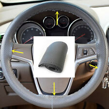 Car Truck Leather Steering Wheel Cover With Needles and gray Thread gray DIY 1