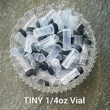 20 Tiny Tube Jar Vials Stash Bottles Mining Black Cap Container 2209 DecoJars US