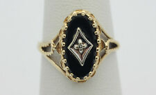 10k Yellow Gold YG Scalloped Edge Onyx Diamond Chip Ring Sz 6.5 2.4g GG487